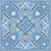 silk blue colour kerchief square pattern design