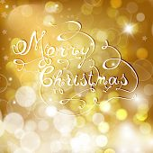Gold Christmas Background With Bells And Snowflakes.