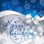 Blue And Silver Christmas Background With Snowflakes, Bowl  And Hand Made Letters