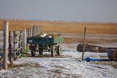 Farm in winter ith cart