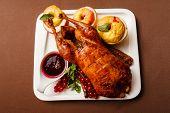 Garnished roasted turkey