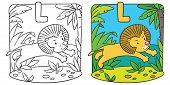 pic of mountain lion  - Coloring picture or coloring book of little funny lion jumping out of the jungle - JPG