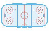 pixel art hockey stadium playground ice court retro style illustration