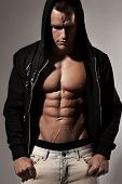 foto of six pack  - Strong Athletic Man Fitness Model Torso showing six pack abs - JPG