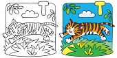 image of cute tiger  - Coloring picture or coloring book of little funny tiger jumping out of the jungle - JPG