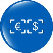 Currency Exchange Sign Icon. Currency Converter Symbol. Money Label. Shiny Button
