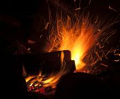macro campfire at night