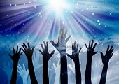 stock photo of soul  - Hands reaching in the sky with star background - JPG