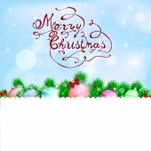Christmas Background With Snowflakes, Bowl, Balls And Hand Made Letters
