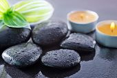 black stones in the water