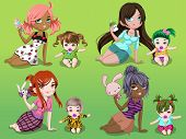 stock photo of pre-adolescent girl  - Nanny Girls Young baby with a toddler - JPG