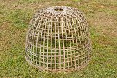 Chicken Cage Made Of Wood And Bamboo.