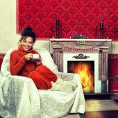 Beautiful Girl In Vintage Room Whit A Cup Of Coffee And Christmas Tree And Decoration