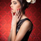 Sensual Woman Professional Make Up In Red Vintage Room