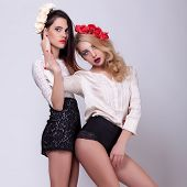 Two Hot Models On Grey Background Full Body