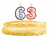 Birthday Cake Candles Number Sixty Three Isolated