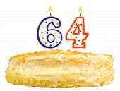Birthday Cake Candles Number Sixty Four Isolated
