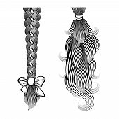 pic of ponytail  - Black and white vector illustration of loose hair tied in a plait and ponytail with a ribbon and band - JPG
