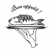 Bon Appetit fish design element