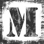 Single Letter M Stamp, Grunge Design
