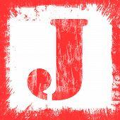 Single Letter J Stamp, Grunge Design