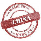 Made In China, Red Grunge Seal Stamp