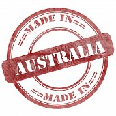 Made In Australia Red Grunge Seal Stamp
