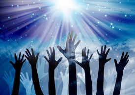 image of hand god  - Hands reaching in the sky with star background - JPG
