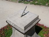 picture of sundial  - Ancient sundial in a park in krakow - JPG
