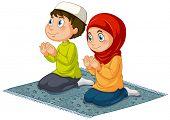 foto of muslim kids  - Two muslims praying on the carpet - JPG
