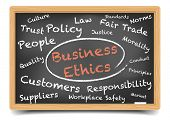 picture of ethics  - detailed illustration of a Business Ethics wordcloud on a blackboard - JPG
