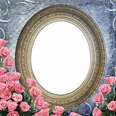 picture of pink rose  - Vintage Frame for photo with  pink roses on grange blue backgruond - JPG