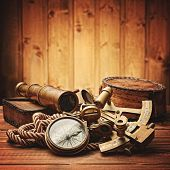 picture of spyglass  - vintage  still life with compass - JPG