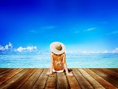 pic of sunbathers  - Woman Sunbathe Sunny Summer Beach Relaxing Concept - JPG