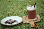 foto of ice-cake  - Chocolate in ice and chocolate cake for snack - JPG