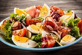 pic of smoked ham  - Boiled eggs with smoked ham and vegetables - JPG