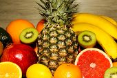 picture of exotic_food  - Assortment of exotic fruits close - JPG