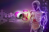 picture of midsagittal  - human anatomy with medicine bottle in color background - JPG