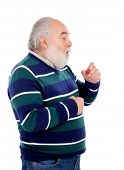 foto of cough  - Senior man with white beard coughing isolated on background - JPG