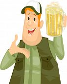 stock photo of pitcher  - Illustration of a Man Holding a Pitcher of Beer - JPG