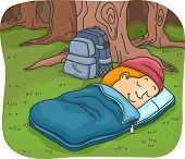 picture of sleeping bag  - Illustration of a Man Sleeping in a Sleeping Bag While Camping in the Woods - JPG