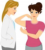 picture of flabby  - Illustration of a Woman Showing Her Flabby Arms to Her Cosmetic Surgeon - JPG