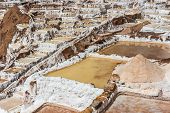 image of andes  - Maras salt mines in the peruvian Andes at Cuzco Peru - JPG