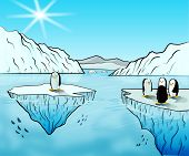 picture of south-pole  - Illustration of an isolated penguin hanging out with more penguins somewhere near the south pole - JPG