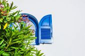 picture of greek-architecture  - Blue window - JPG