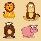 foto of hippopotamus  - Set of cute cartoon character of wild animals including Lion - JPG