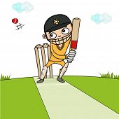 pic of cricket shots  - Cartoon of a batsman ready to hit the shot in playground for Cricket sports concept - JPG