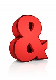 stock photo of ampersand  - Red ampersand symbol isolated on white background - JPG