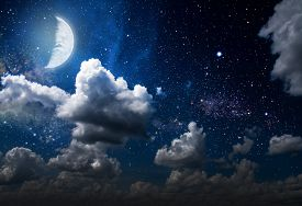 stock photo of moonlight  - backgrounds night sky with stars and moon and clouds - JPG