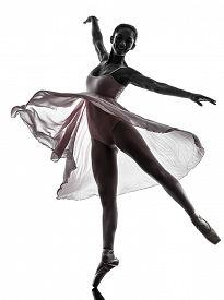 image of  dancer  - one woman ballerina ballet dancer dancing in silhouette on white background - JPG